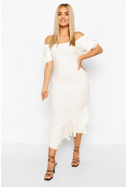 White Plus Off Shoulder Puff Sleeve Ruffle Midi Dress