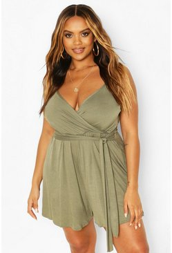 Khaki Plus Wrap Tie Waist Playsuit