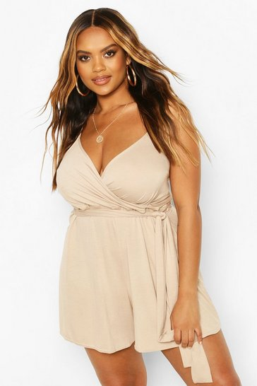 Stone Plus Wrap Tie Waist Playsuit