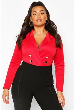 Body Plus con blazer e bottoni davanti, Rosso