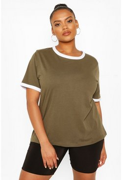 Khaki Plus Cotton Ringer T-shirt