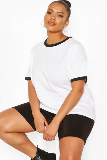 White Plus Cotton Ringer T-shirt