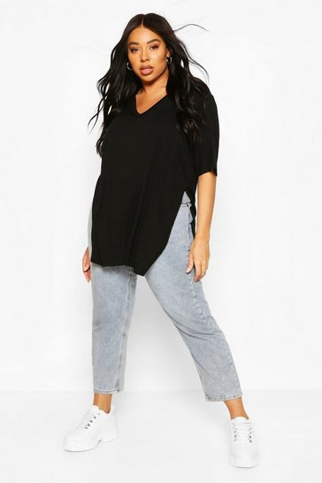 Black Plus V Neck Split Side Longline T-Shirt