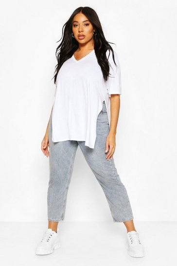 White Plus V Neck Split Side Longline T-Shirt
