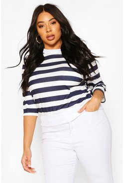Navy Plus Stripe Crop Sweat