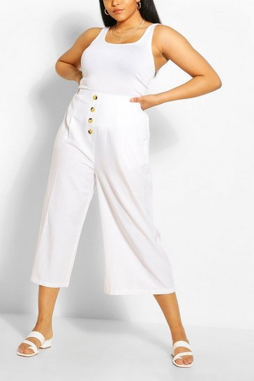 Ivory Plus Linen Wide Leg Culotte Trousers