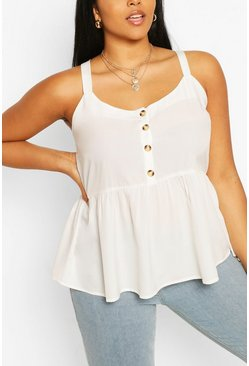 Ivory Plus Tort Button Smock Cami