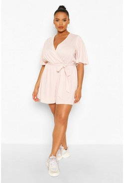 Blush Plus Rib Wrap Self Belt Romper