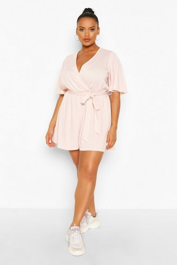 Blush Plus Rib Wrap Self Belt Playsuit