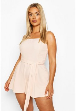 Blush Plus Strappy Self Belted Playsuit