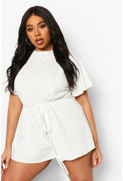 White Plus Rib Lettuce Hem Basic Playsuit