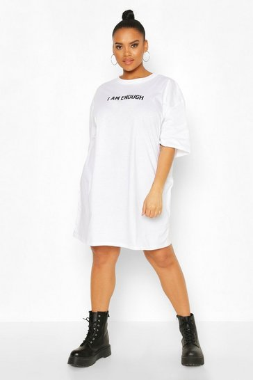 White Plus 'I Am Enough' T-shirt Dress