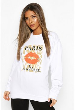 White Petite Leopard Lips Slogan Sweater