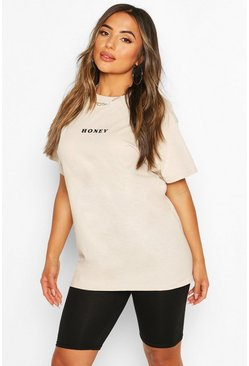 Stone Petite Mini 'Honey' Slogan T-Shirt