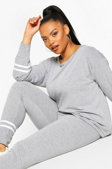 Grey Slash Neck Stripe Detail Lounge Set