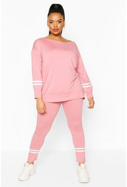 Rose Slash Neck Stripe Detail Lounge Set