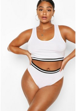 White Plus Stripe Detail Bra & Knicker Set