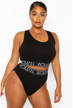 "Plus Set con reggiseno e slip ""Woman"", Nero"