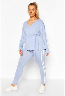Baby blue Plus V Neck Tie Waist Stripe Lounge Set