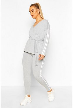 Grey Plus V Neck Tie Waist Stripe Lounge Set