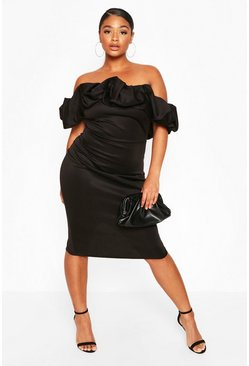 Black Plus Scuba Rouched Bardot Midi Dress