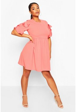 Coral Plus Extreme Ruffle Sleeve Smock Dress