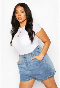 Light blue Plus Washed Pleated High Waist Shorts