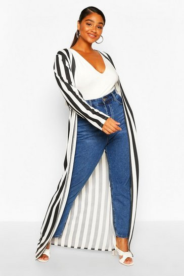 Black Plus Stripe Maxi Duster