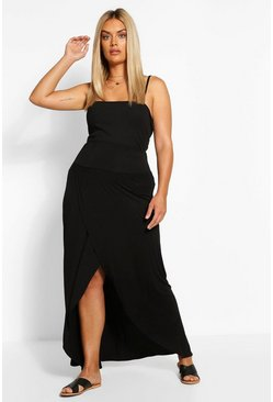 Black Plus Drop Hem Maxi Skirt