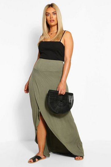Green Plus Drop Hem Maxi Skirt