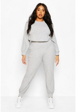 Grey marl Plus Soft Rib Long Sleeve Top & Pants