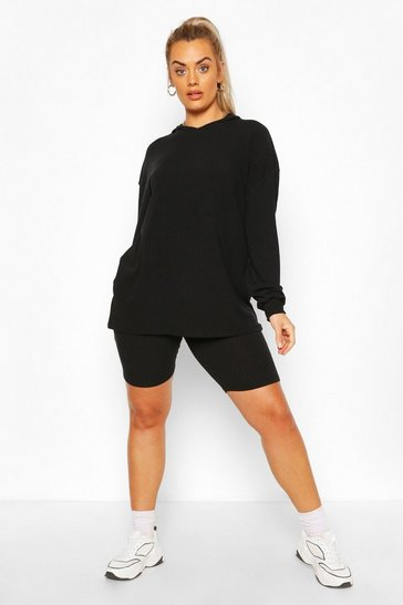 Black Plus Soft Rib Hoody & Cycle Short Set