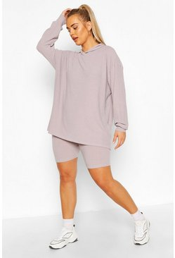 Grey marl Plus Soft Rib Hoody & Cycle Short Set
