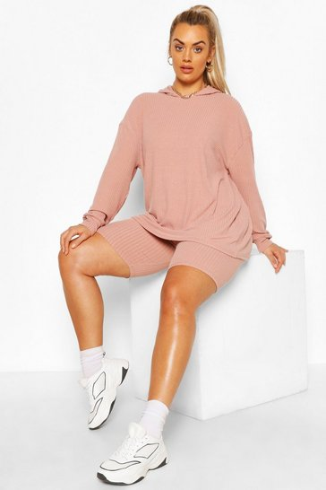 Rose Plus Soft Rib Hoody & Cycle Short Set