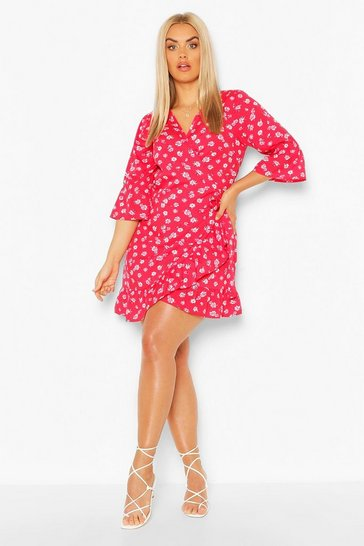 Red Plus Floral Ruffle Wrap Skater Dress
