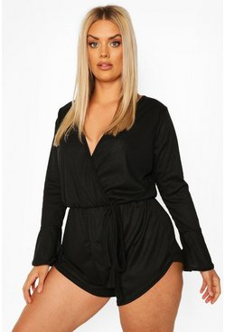 Black Plus Rib Wrap Ruffle Romper