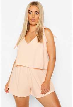 Blush Plus Double Layer Tie Shoulder Romper