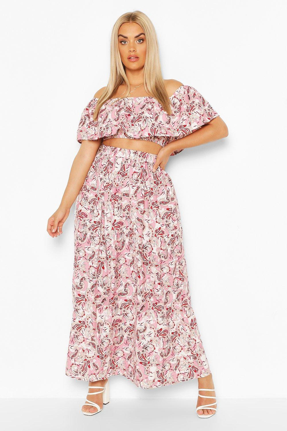 Plus Paisley Off Shoulder Top & Maxi Skirt Co-Ord 2