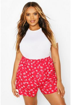 Red Plus Ditsy Floral Flippy Short