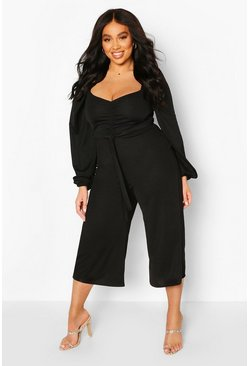 Black Plus Puff Sleeve Belted Jumpsuit
