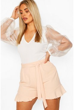 Blush Plus Ruffle Hem Belted Tailored Short