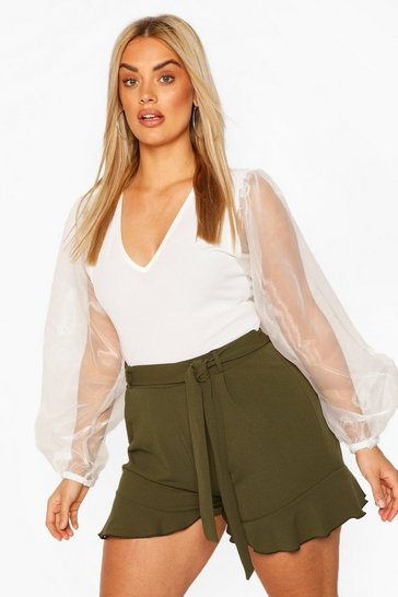 Khaki Plus Ruffle Hem Belted Tailored Short