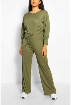Khaki Plus Rib Lounge Wide Leg Jumpsuit