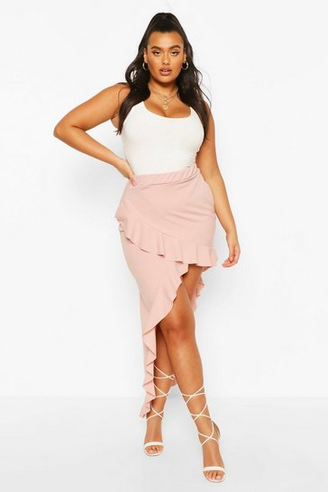 Blush Plus Scuba Ruffle Maxi Skirt