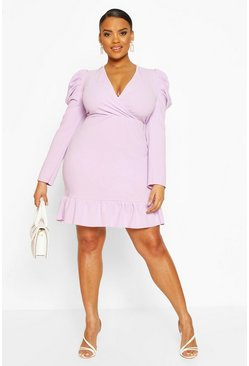 Lilac Plus Crepe Volume Sleeve Ruffle Hem Mini Dress