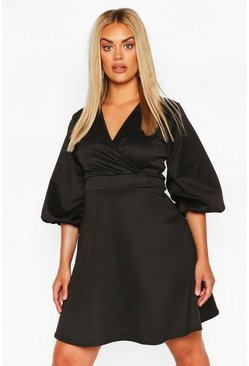 Black Plus Volume Sleeve Wrap Skater Dress