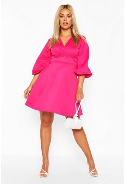 Hot pink Plus Volume Sleeve Wrap Skater Dress