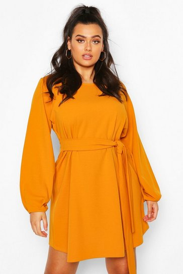 Mustard Plus Blouson Sleeve Belted Shift Dress