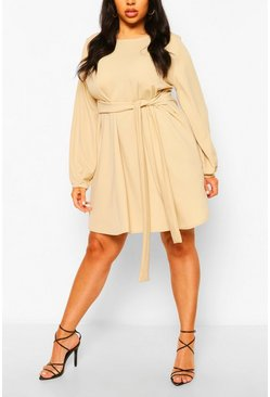 Stone Plus Blouson Sleeve Belted Shift Dress