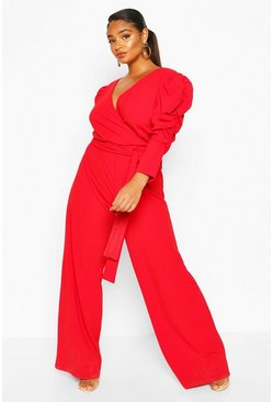 Red Plus Ruched Puff Sleeve Wrap Belted Jumpsuit